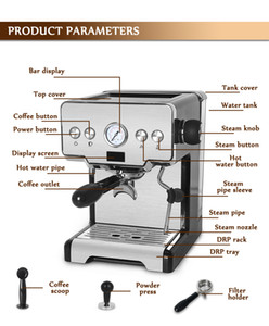 FreeShipping Italian Semi-automatic Coffee Maker Cappuccino Milk Bubble Maker Americano Espresso Coffee Machine for Home