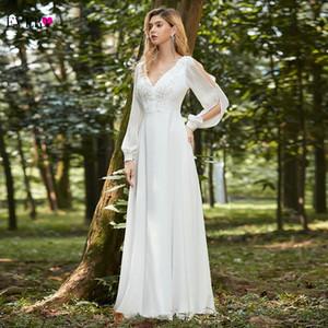 A Line Wedding Dress 2021 Boho White Dress Elegant V Neck Long Sleeve Appliques Lace Chiffon Bridal Gown Ever Pretty EP00457WH