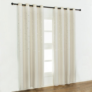 """Curtain Blackout Curtains Star Shape Hollow Double Layer Cloth Yarn Combination Thermal Insulating Room Darkening Curtains 39""""X98"""