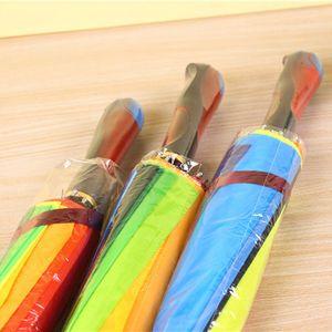 Moda colorato arcobaleno ombrello da pioggia donne marca 24k antivento manicotto lungo ombrelloni cornice forte impermeabile impermeabileHHD3667