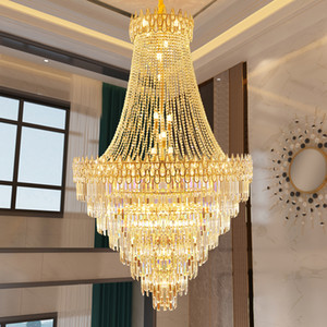 Modern Crystal Chandelier LED Light European Luxury Big Crystal Chandeliers Lights Fixture Restaurant Stair Home Indoor Lighting Dia100cm