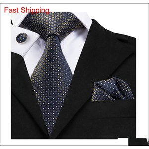 Hi-Tie Luxury Designer Neck Ties For Men 100% Silk Jacquard Men Necktie Hanky Cufflinks Set For Bussiness Party C-1755 Wrefs