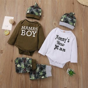 Baby Boy Clothing Sets Letter Long Sleeve Bodysuit + Dinosaur Pants Trousers + Hat 0-18M Newborn Infant Toddler Fall Outftis