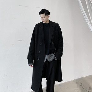 Autumn Winter Male Casual Overcoat Jacket Men Vintage Double Breasted Loose Woolen Long Trench Coat Outerwear