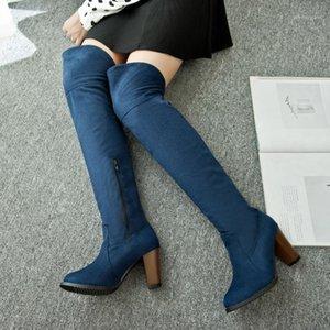 Zogeer Faux Suede Sexy muslo Botas altas mujeres sobre las botas de la rodilla damas otoño otoño primavera tacones altos zapatos mujer negro azul1