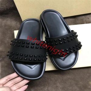 2020 mens progettista shoes red bottom Spikes slippers authentic lusso leather sandals Summer flat flip flops big