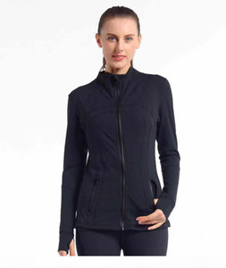 L Women's yoga jacket Slim Seamless Running Gym Long sleeves Fitness Workout Quick Dry Elastic Zippered Outdoor Sports jacket yogaworld