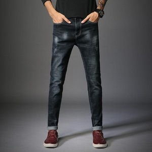 Men Jeans 2020 New Business Casual Slim Fit Full Length Black Jeans Male Casual Solid Color Classic Pencil Denim Pant Size 28 36