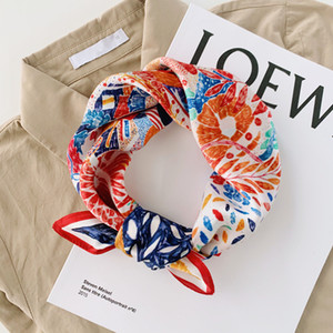 Luna&Dolphin Small Square Scarves 53x53 100% Real Silk Oil Painting Crayon Flower Red Bandanas Vintage Headbands Scarf Kerchief Y201007
