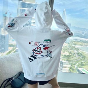 European 20 fashion brand croxin funny graffiti printing men's and women's loose hooded sweater ch Pullover Jacket men's