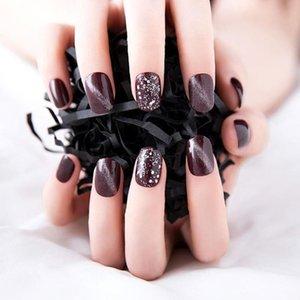 Borgoña Diamante Gato ojo falso remiendo de uñas acabado redondo y blanco 24 uñas piezas medianas de uñas Cabeza de clip falso dedo largo Z7L6