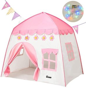 Tents And Shelters WILDSROF Princess Castle Tent With Lights Kids Play Pink Playhouse For Indoor Outdoor Boys Girls Gift1
