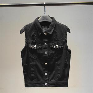 Rivet Hole Black Denim Vest For Women Jeans Veste Femme Casual Sleeveless Jacket Single breasted Pocket Female Waistcoat White