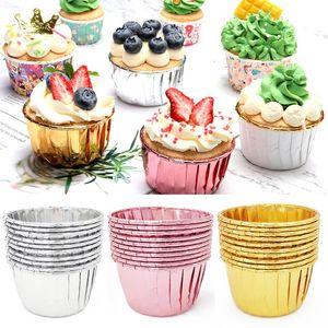 Backformen 50 stücke Cupcake Paper Becher Öldicht Liner Fachkoffer Hochzeit Party Caisstettes Goldene Muffin Wrapper