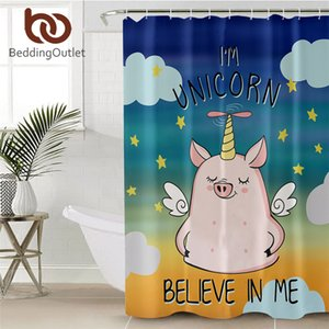 BeddingOutlet Pig Angel Shower Curtain Cute Piglet Polyester Bath Curtain Cartoon Animal Unicorn Bathroom Decor Pink che gordijn Towel