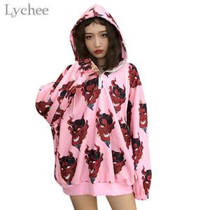 Hot Sale Lychee Harajuku Devil Print Hooded Women Sweatshirt Metal Ring Zipper Casual Loose Long Sleeve Female Pullovers Hoodies