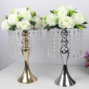 Exquisite vaso de flor Forma torção Fique de casamento de prata / Golden / Table Centerpiece 52 cm de altura Estrada Lead Home Decor