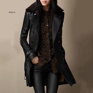 Женская кожаная искусственная зима длинный PU куртка женщин мягкое пальто мода мотоцикл леди весна гот черная ветровка сексуальная тепло