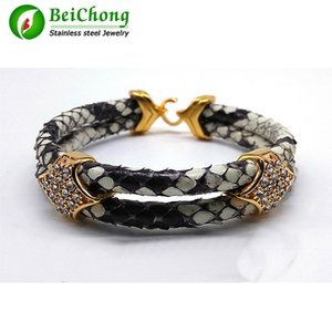 Fashion Python Skin Snake 5MM Men with Stainless Steel BOX Circle Bangle Bracelet For Watch Gift 0930