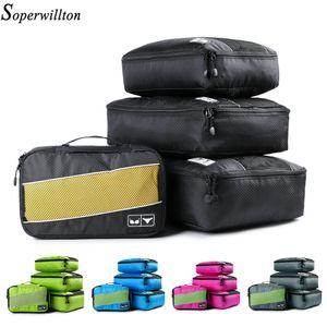 SOPERWILLTON Emballage Cubes Nylon Travel Organizer Sac Goldatable Mesh Duffle Sac Men Femmes Voyage Bagage Organizer Set LJ200921