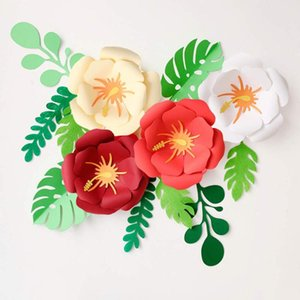 Artificial Flowers Double-deck Paper Flower Decorations DIY Fake Flower Party Wedding Backdrop Wall Decoration Dried Flowers