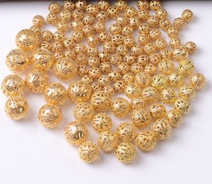 1000pcs lot Charms Loose Hollow Ball Copper Spacer Beads Gold Plated DIY JEWELRY FINDINGS 10mm