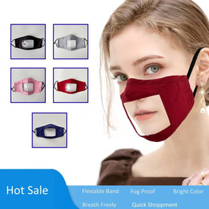Breathable Deaf-Mute Lip Language Cotton Solid Color Full Face Transparent Window Mask for Adults and Kids