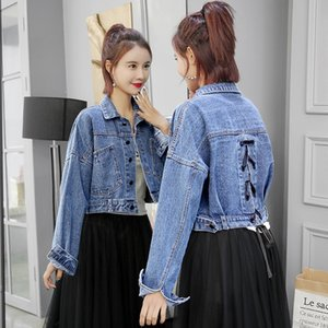 2019 Automne hiver femmes vestes en denim veste recadrée bombardier pour femmes dames manteau ruban court chaquet mujer Outwear J0112