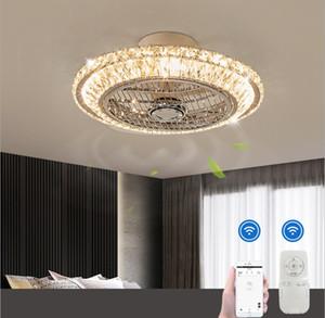 Bluetooth cristal inteligente moderno lâmpada de ventilador de teto levou com luzes app controle remoto Ventilator lâmpada silenciosa quarto de motor