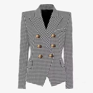 Trajes Balmain chaquetas para mujer abrigos mujeres de la manera Negro Houndstooth Blazers para mujer Abrigos Chaquetas ropa de las mujeres del tamaño S-2XL