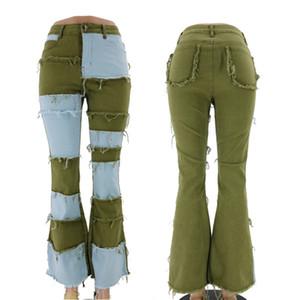 Мода лоскутная женщина Женские джинсы высокая талия тонкие тарифа брюки пружины осень осень скейтборд женщины джинсовые брюки
