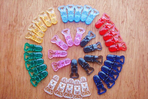 40 Pçs / set Mix Cor Transparente Mam Baby Baby Baby Clips Pacifier 8mm 8 Cores MH004