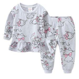 JumpingBaby 2019 Mädchen Pyjamas Pijama Infantil Pyjamas Kinder Cartoon Nachthemd Koszula Nocna Pyjama Set Stich Chemise DE NUIT Y200704