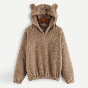 okkdey 2020 Autunno Inverno donne Felpa orso bello orecchie Tinta unita in pile con cappuccio casual Kawaii peluche Warm Felpa Donne