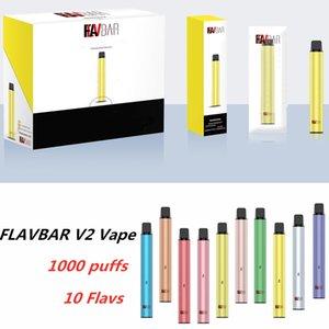 100% Authentic Flavbar V2 POD monouso POD VAPE VAPE 1000 BUFFS 650MAH 3ML VS SFUFF 10 colori