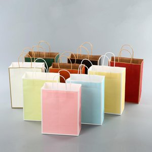 40pcs lot Small Gift Bag Baking Bag Takeaway Shopping Clothing Kraft Paper Tote