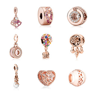 Granos sueltos de aleación de oro rosa para hacer Neckalce y Pulsera Heart Fang Ballon Pattern DIY Joyería Accesorios Partes Partes Beads