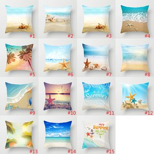 Summer Beach Shell Pillow Case Ocean Pillow Covers Home Sofa Decorations Cushion Covers 45*45cm Polyester FFB4150