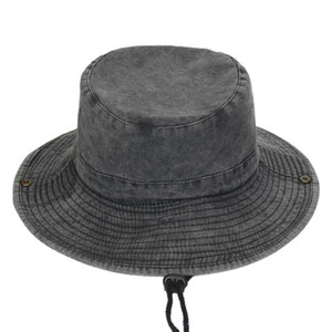Unisex Vintage Washed Denim Cotton Boonie Hat Wide Brim Sunscreen Breathable Outdoor Fishing Bucket Cap with Chin Strap