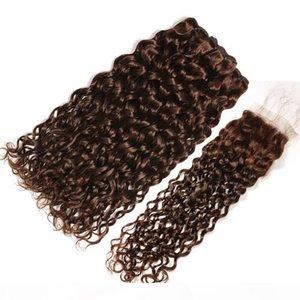 Влажная и волнистая шоколадно-коричневый бразильский человеческих волос Weave Связки с Closure Dark Brown Water Wave 3Bundles с 4x4 Lace Closure 4шт Лот