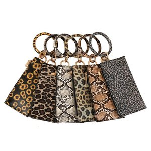 Keychain Bracelet with Credit Card Holder Leopard Print Key Ring for Women Wristlet Tassel Key Ring ID Wallet for Lady Girls Free Shipping