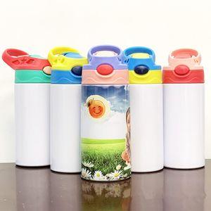 12oz Dritto Stippy Cups Sublimazione Bambini Bambini in acciaio inox Bottiglie d'acqua in acciaio inox doppio sottovuoto isolante Portatile Bere Bere Bicchieri A12