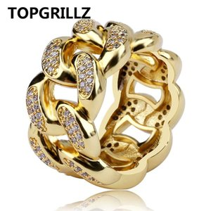 TopGrillz Cubana Link Chain Ring Homens Hip Hop Cor Gold Gelado fora Cubic Zircon Jóias Anéis 7 8 9 10 11 Cinco Tamanho