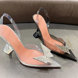 2021 Summer Clear PVC Crystal Sandals Women rhinestone Butterfly Cup high Heel ladies Party Shoes Pumps Runway High Heel Sandals