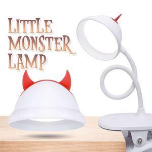 Little Devil desk lamp USB charging folding clip DC 5V LED night light Flexible eye protection reading light for home office reading desktop