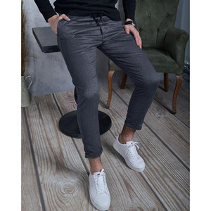 2021 Fashion Men's Autumn   Winter Pure Color Textured Fabric Casual Pants Male Elastic Straight Formal Trousers