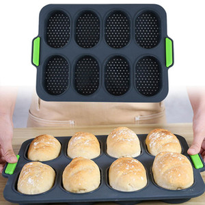 8 Grids Non-stick DIY Good Flexibility French Heat Resistant Hamburger Easy Release Baking Bread Mold Silicone Home Practical Tool