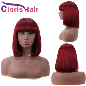 Wine Red Colored Human Hair Short Bob Wig With Bangs Pixie Cut Malaysian Remy Straight Front Non Lace Wigs For Black Women 99J Glueless Wig