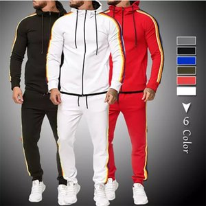 Fashion Men Tracksuit Set 2020 Autumn Hoodie and Sweatpants 2 Pieces Sweat Suit Set Mens Spring Sporting Clothing Jogger Outfit 1004
