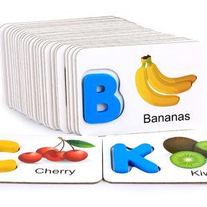 Puzzles De Madeira Brinquedo Frutas e Legumes Portuguese Alfabeto Identificação Alfabeto Cartões Cognitive Brinquedos Educação Infância LJ201114